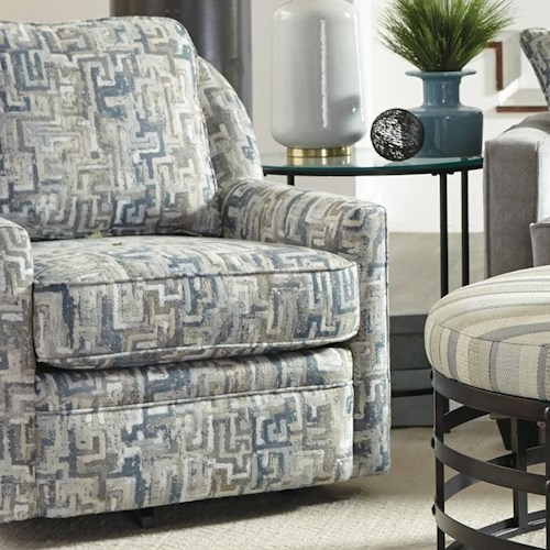 Craftmaster 085110-085210 Casual Swivel Chair with Loose Pillow Back