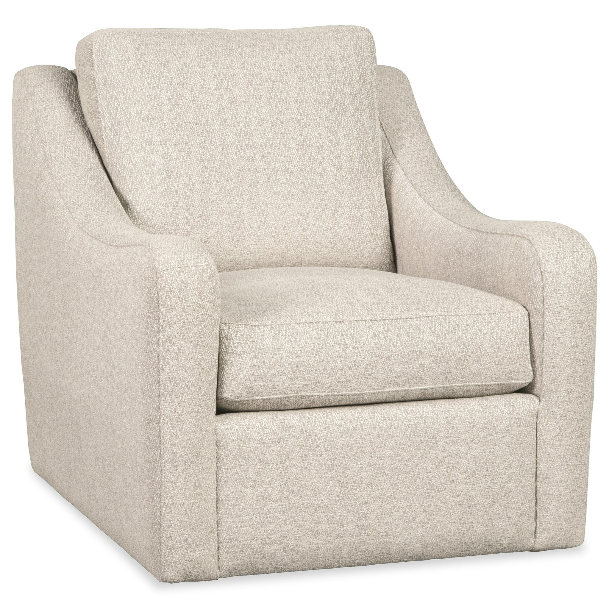 Casual Swivel Chair with Rounded Track Arms
