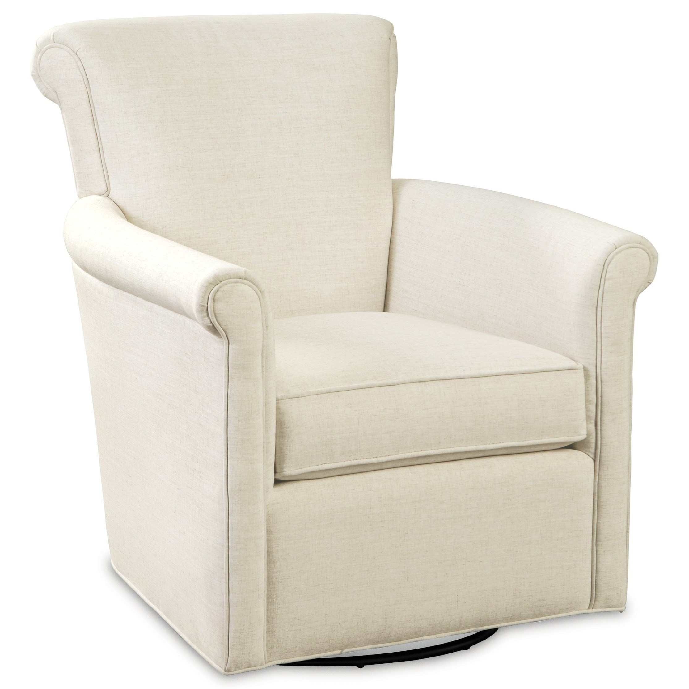 Transitional Swivel Chair with Rolled Arms and Back