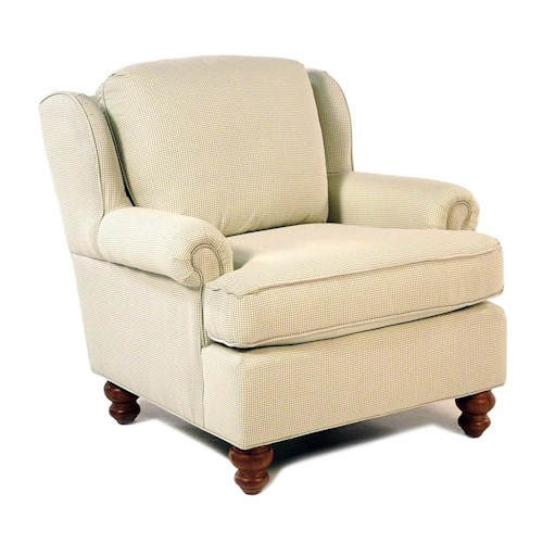 Cozy Life Pocomo Traditional Wing Back Chair with Turned Wood Feet