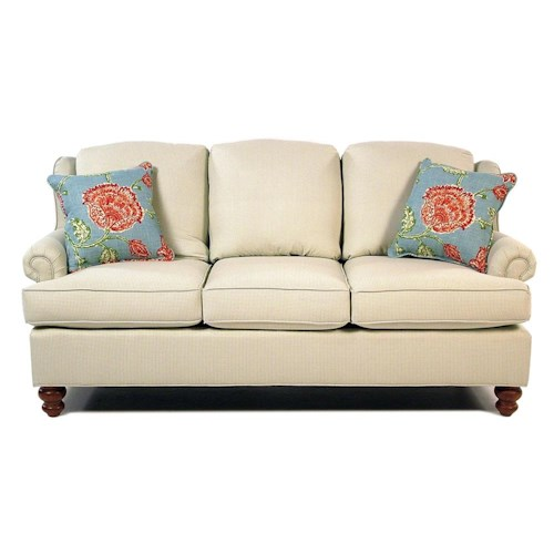 Cozy Life Pocomo Traditional Wing Back Sofa with Turned Wood Feet