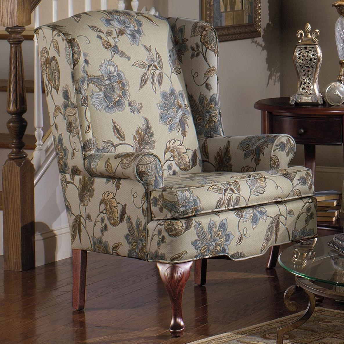 Upholstered Wing Chair with Queen Anne Wood Legs