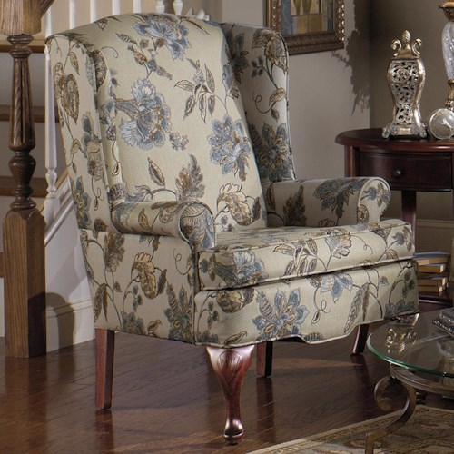Craftmaster 375  Upholstered Wing Chair with Queen Anne Wood Legs