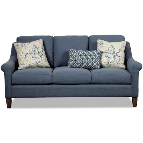 Hickory Craft 470250 Transitional Sofa with Rolled Arms and Wing Back