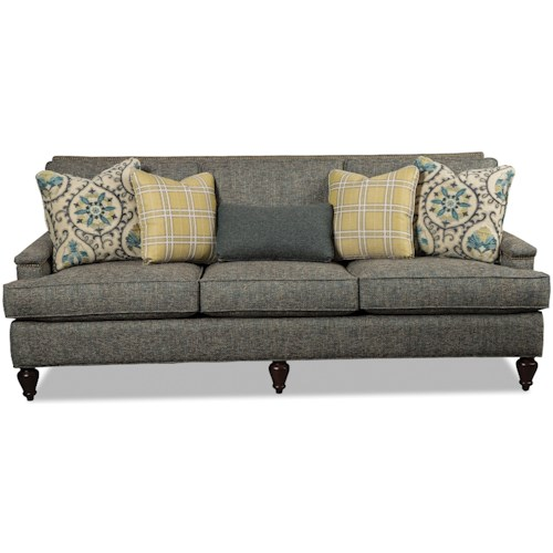 Hickory Craft 472150 Transitional Sofa with Light Brass Nailheads
