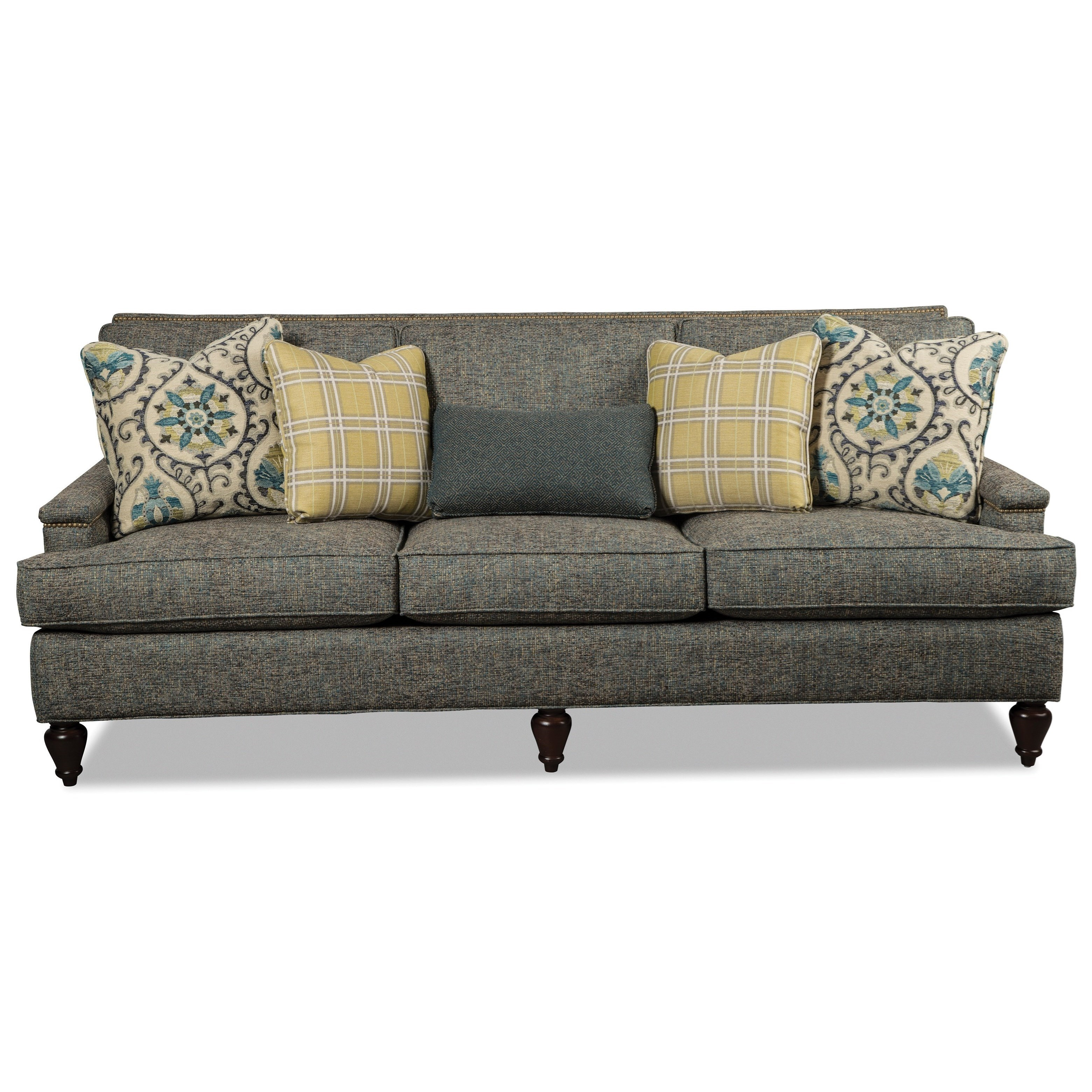 Transitional 90 Inch Sofa with Light Brass Nailheads