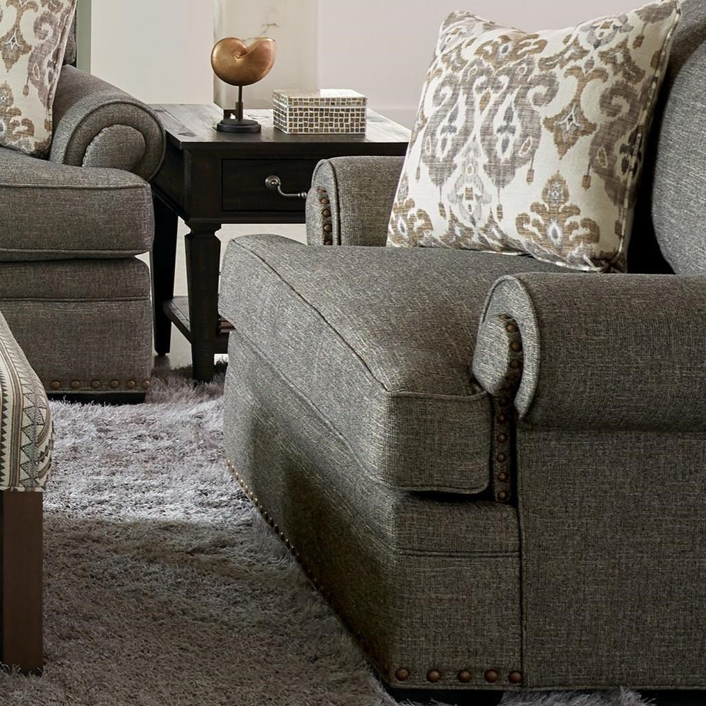 Transitional Chair and a Half with Large and Medium Nailhead Studs