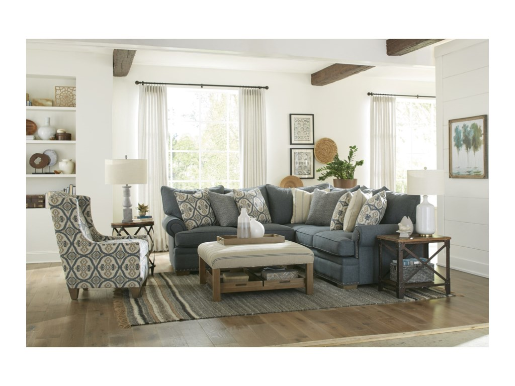 Hickorycraft 7016504-Seat Sectional Sofa w/ LAF Loveseat