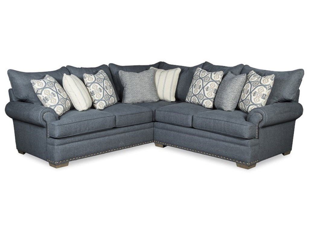 Craftmaster 7016504-Seat Sectional Sofa w/ RAF Loveseat