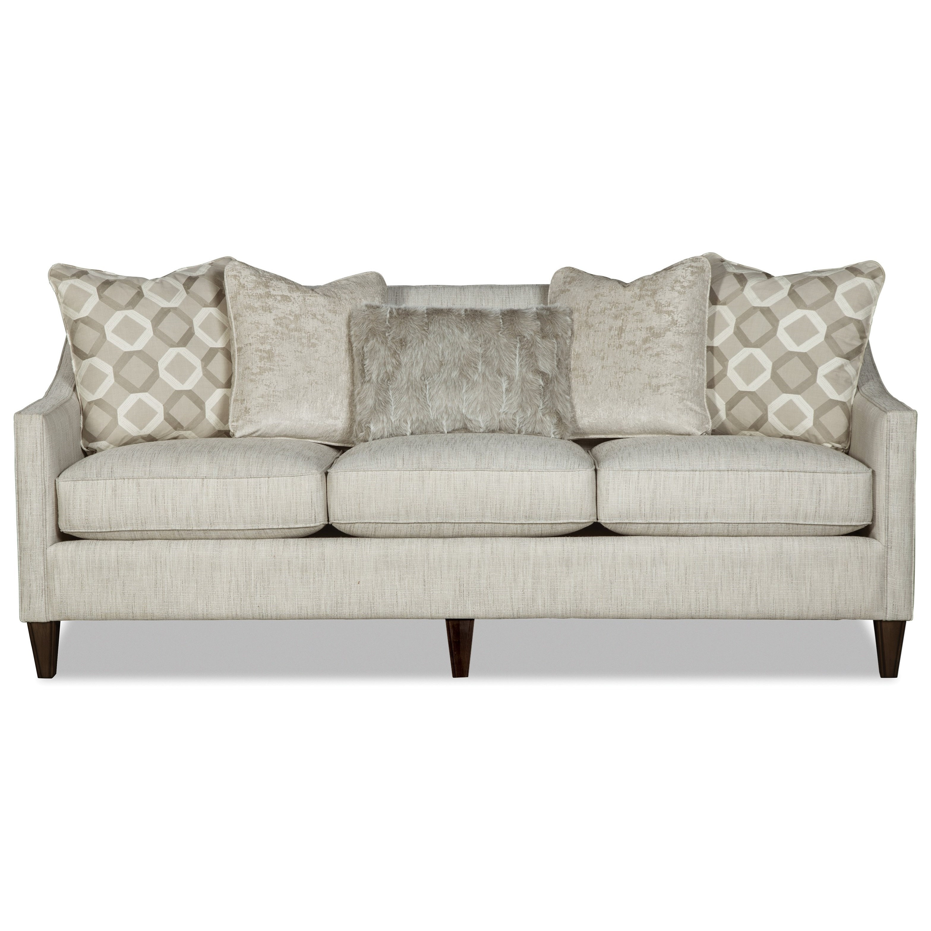 Contemporary Sofa with Tight Back and Toss Pillows