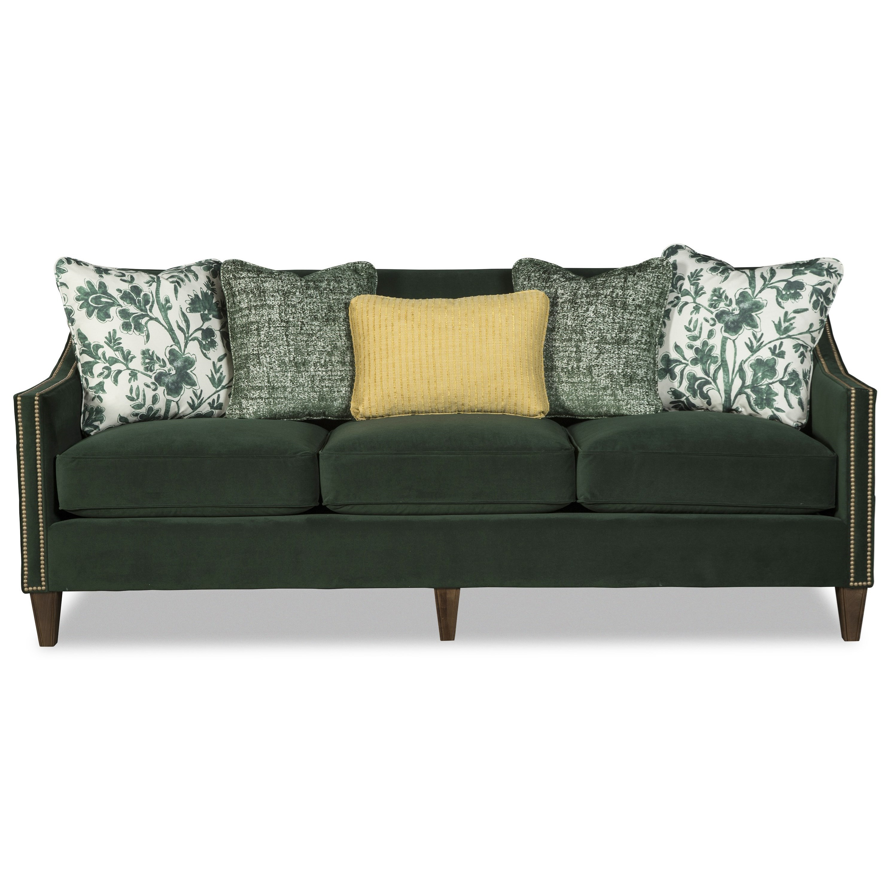 Contemporary Sofa with Tight Back, Toss Pillows, and Nailhead Studs