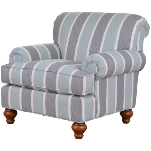 Craftmaster 7047 Traditional Upholstered Chair with Turned Wood Legs