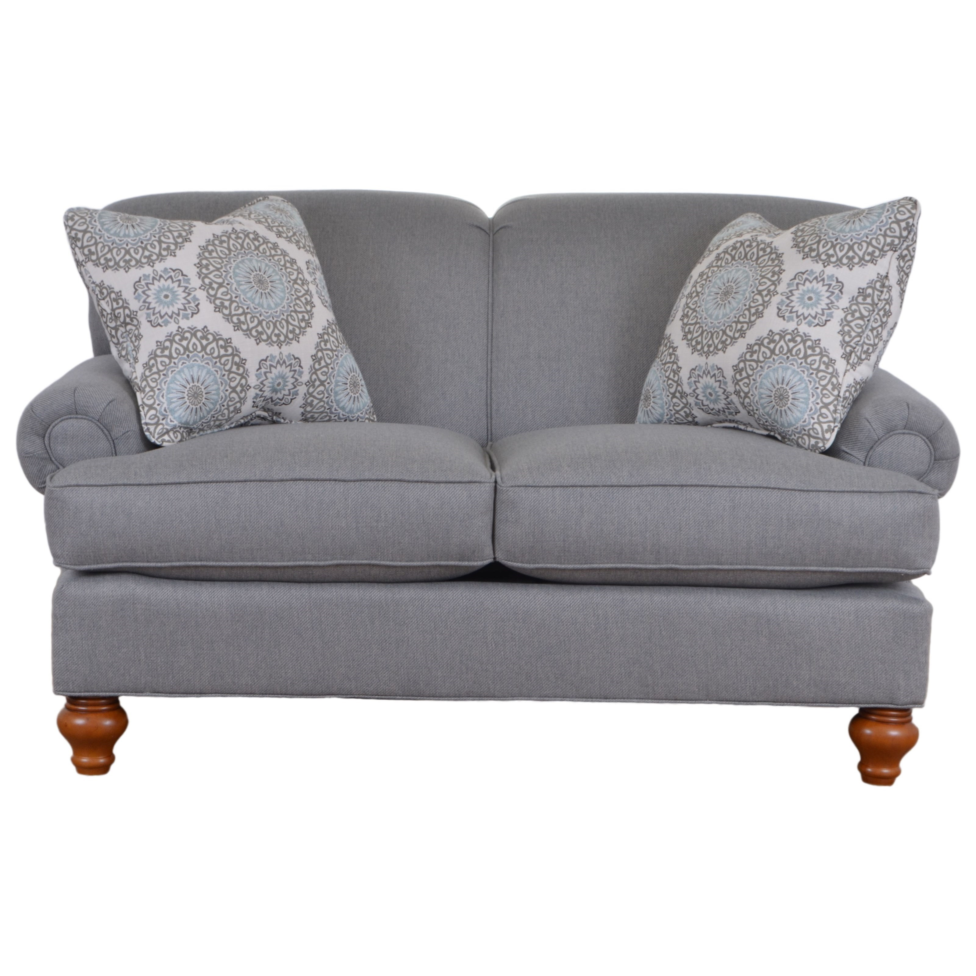 Hickorycraft 7047 Traditional Loveseat With Turned Wood Legs