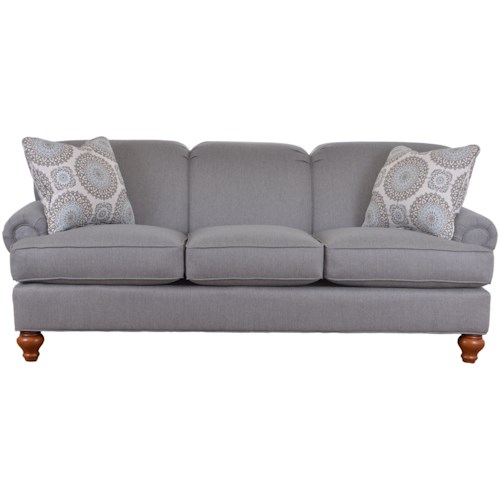 Craftmaster 7047 Traditional Sofa with Turned Wood Legs