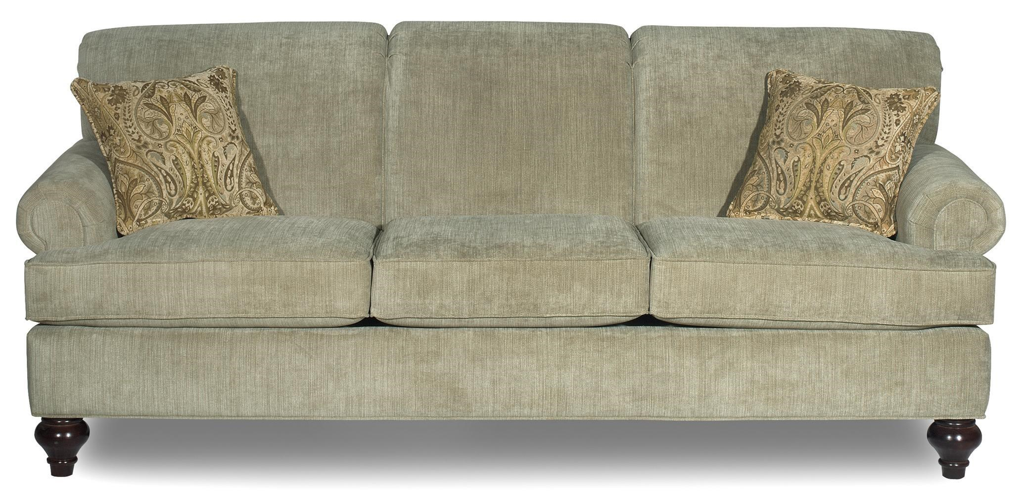 Hickory Craft 7047 Traditional Sofa With Turned Wood Legs