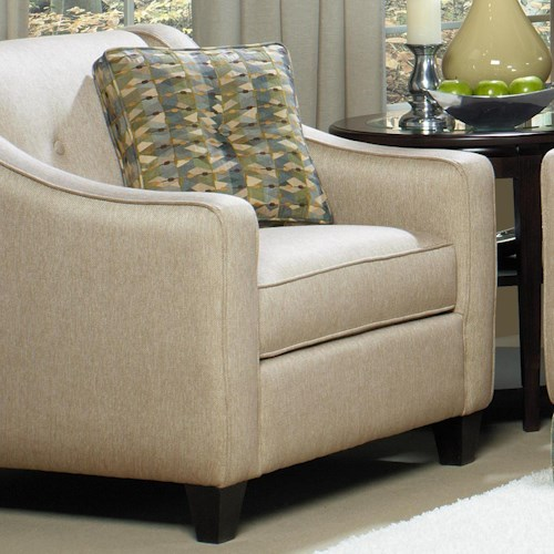 Cozy Life 7069 Contemporary Upholstered Chair and 1/2 with Button Detail