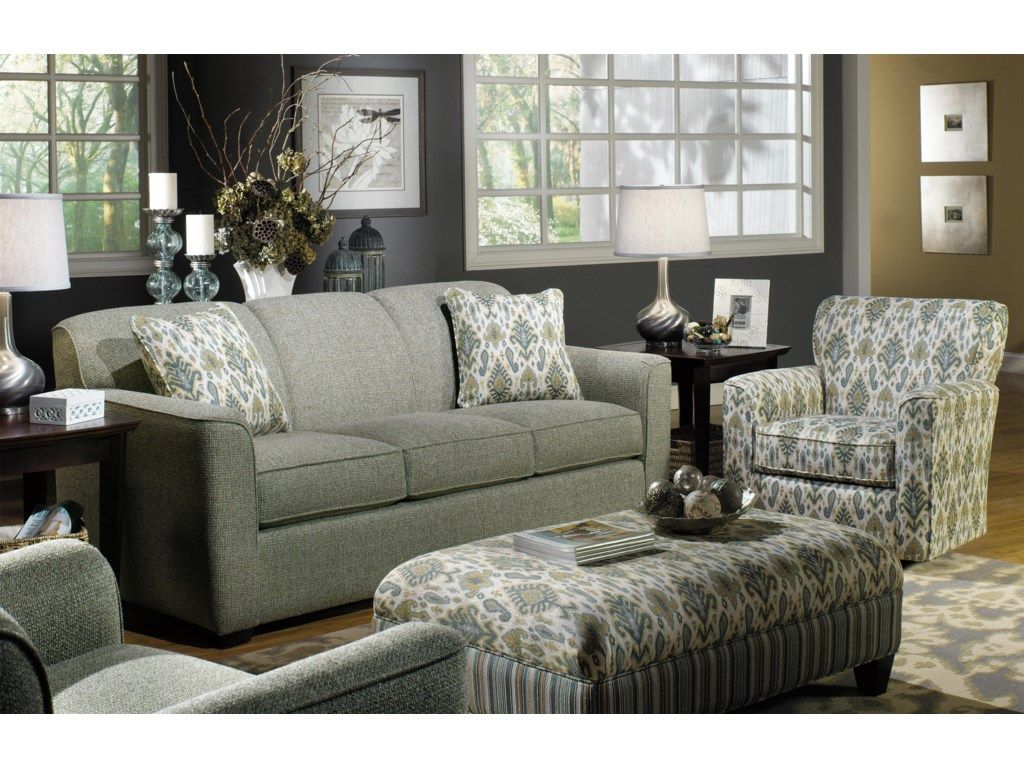 Hickory Craft 7255Sleeper Sofa w/ Memory Foam Mattress