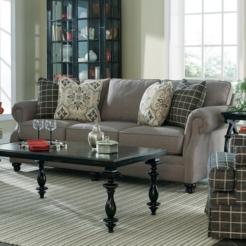 Cozy Life 7266 Transitional Stationary Sofa with Exposed Wood Feet