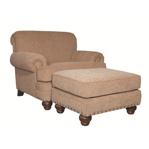 Cozy Life 728150 Traditional Chair and Ottoman with Turned Legs and Nailheads