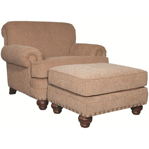 Craftmaster 7281 Traditional Chair and Ottoman with Turned Legs and Nailheads