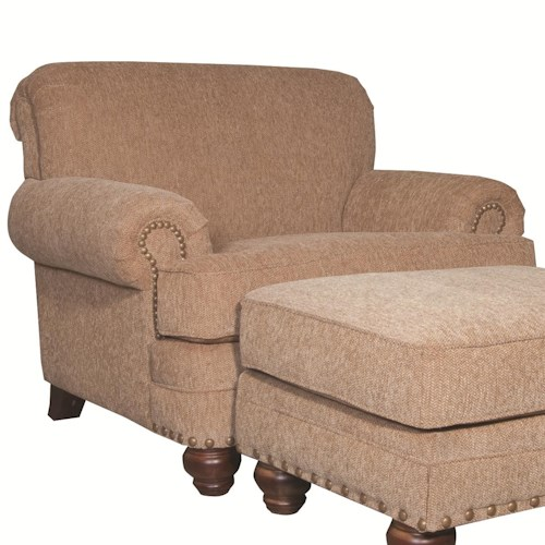 Craftmaster 728150 Traditional Chair with Rolled Arms and Nailhead Trim