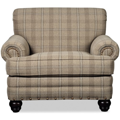 Craftmaster 7281 Traditional Chair with Rolled Arms and Nailhead Trim