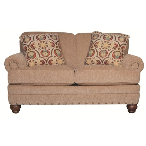 Craftmaster 728150 Traditional Loveseat with Rolled Arms and Turned Legs