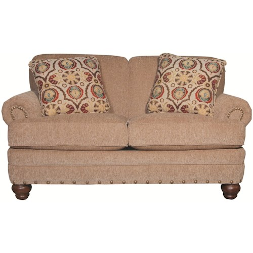 Craftmaster 7281 Traditional Loveseat with Rolled Arms and Turned Legs