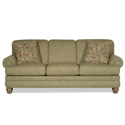 Craftmaster 728150 Traditional Sofa with Rolled Arms and Turned Legs