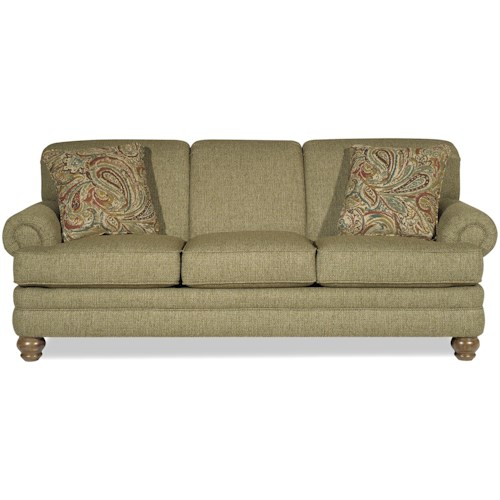 Craftmaster 7281 Traditional Sofa with Rolled Arms and Turned Legs