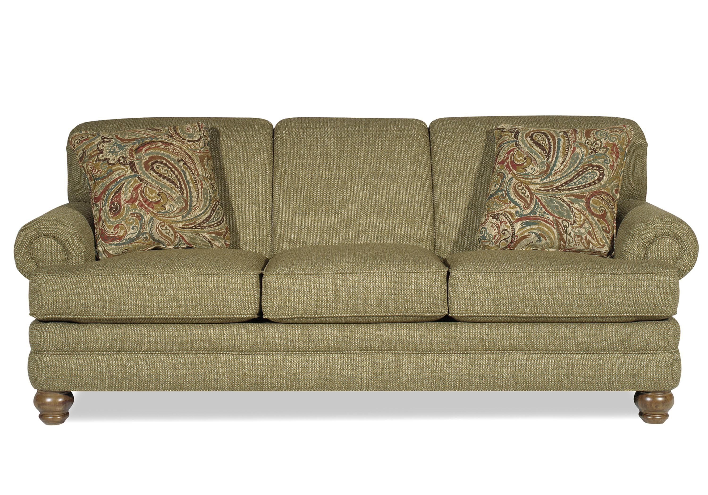 Hickory Craft 7281 Traditional Sofa With Rolled Arms And Turned Legs