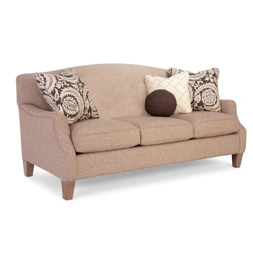 Craftmaster Raphael Transitional Camel-Back Sofa with Flair-Tapered Arms