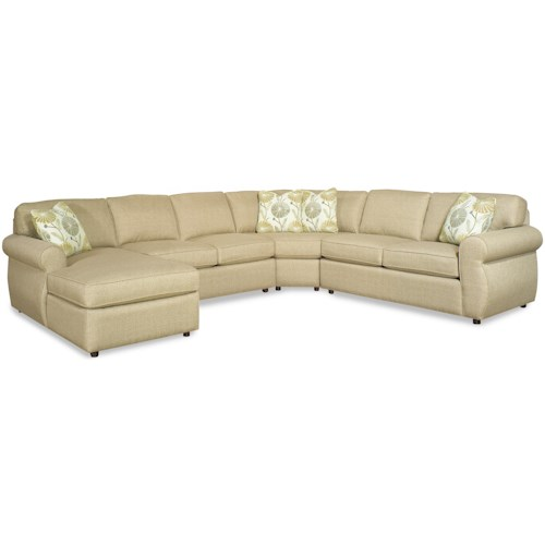 Craftmaster 730100 Transitional Four Piece Sectional Sofa with Rolled Arms