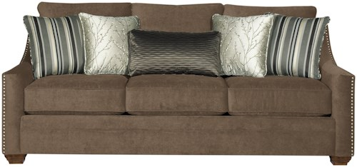 Craftmaster 7335 Casual Fabric Sofa with Track Arms and Nail Head Trim