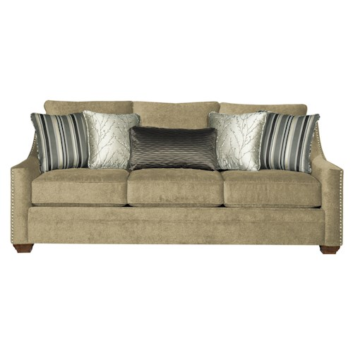 Cozy Life 7335 Casual Fabric Sofa with Track Arms and Nail Head Trim