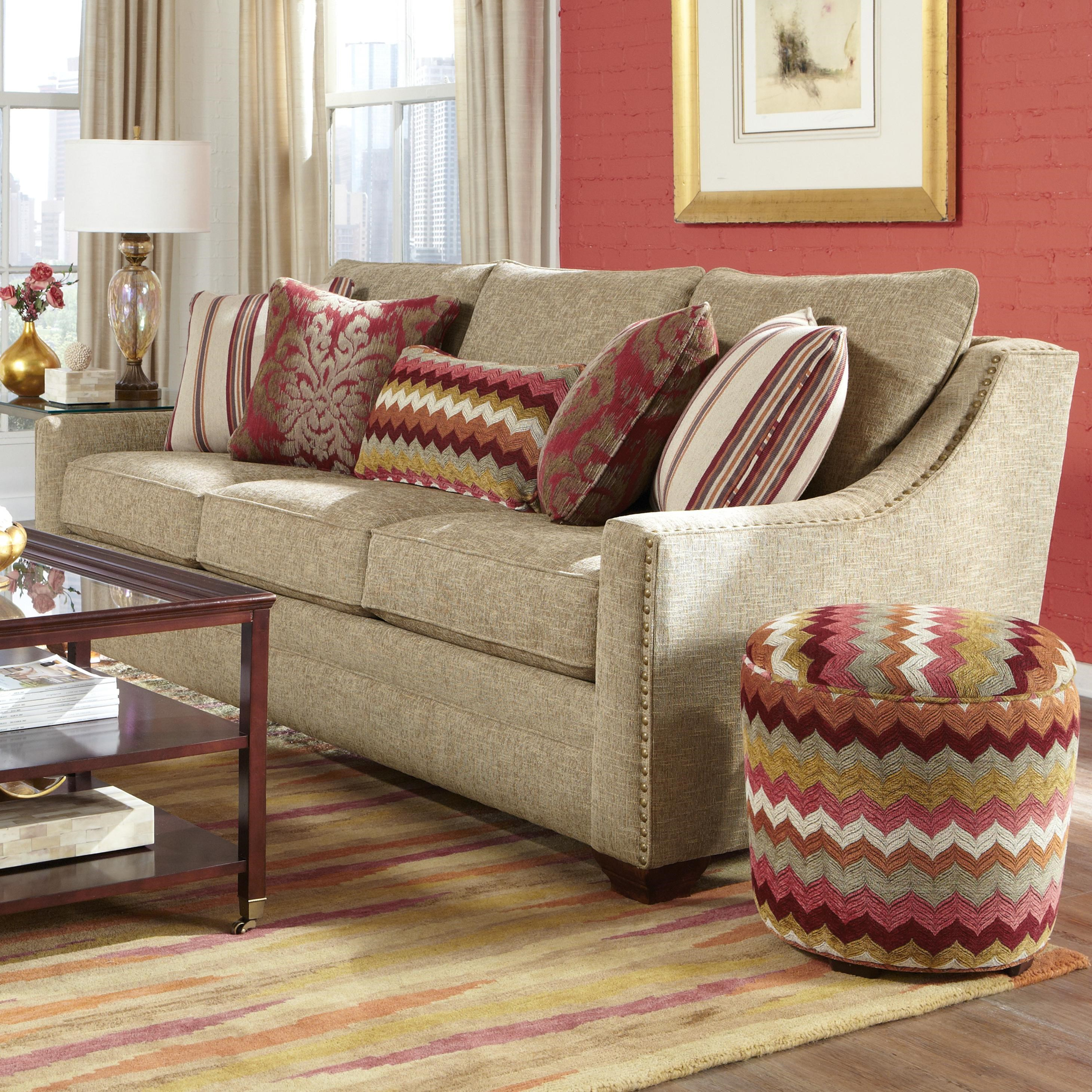 Craftmaster 7336 Transitional Sofa with Oversized Nailheads