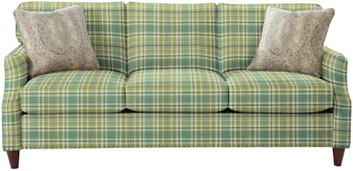 Craftmaster 7363 Transitional Sofa with Flare Tapered Arms and Vintage Tack Nailheads
