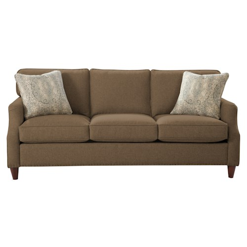 Cozy Life 7363 Transitional Sofa with Flare Tapered Arms and Vintage Tack Nailheads