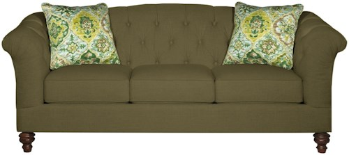 Craftmaster 7377 Button-Tufted Sofa with Flared and Pleated Arms