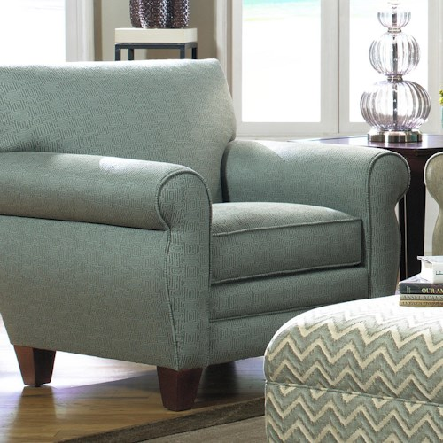 Craftmaster 7388 Transitional Chair with Rolled Arms, Welt Trim and Tapered Feet
