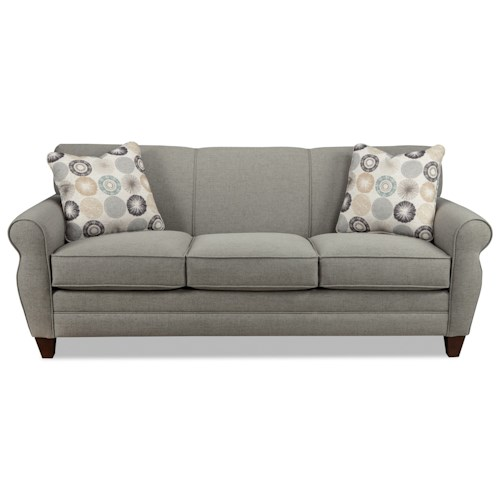 Cozy Life 738800 Transitional Stationary Sofa with Rolled Arms and Tapered Wood Feet