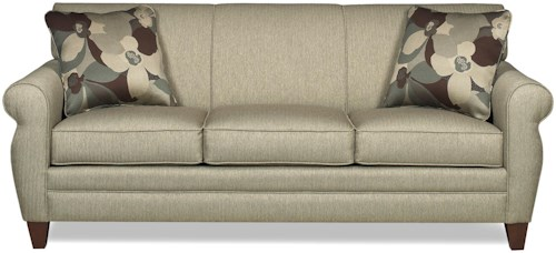 Craftmaster 7388 Transitional Stationary Sofa with Rolled Arms and Tapered Wood Feet