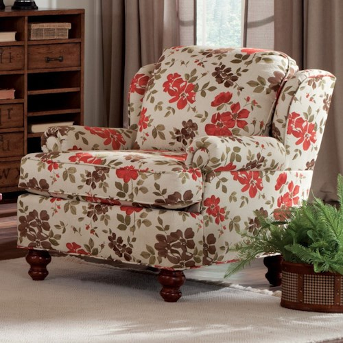 Craftmaster 740200 Traditional Wing Back Chair with Turned Wood Feet