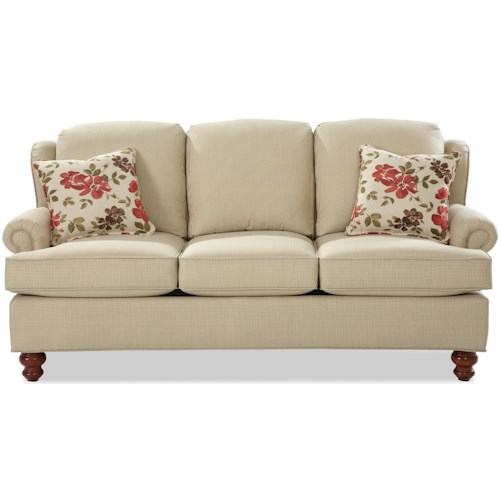 Craftmaster 7402 Traditional Wing Back Sofa with Turned Wood Feet