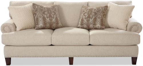 Craftmaster 7405 Transitional Sofa with Rolled Panel Arms and Vintage Tack Nailheads