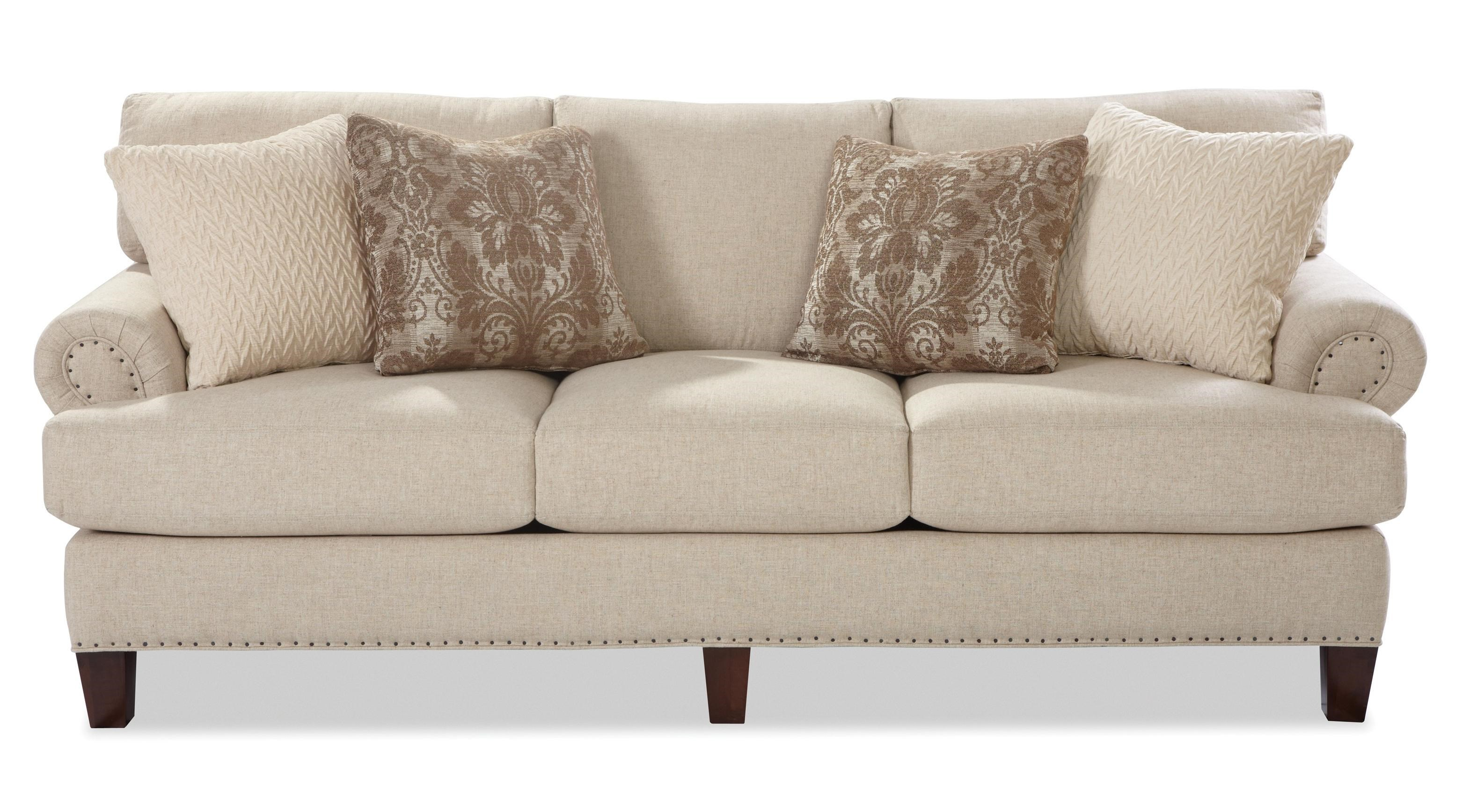Craftmaster 7405 Transitional Sofa With Rolled Panel Arms And Vintage Tack  Nailheads   Olindeu0027s Furniture   Sofas