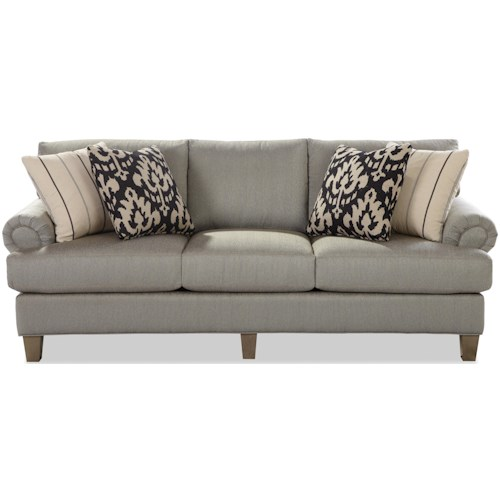 Craftmaster 7406 Transitional Sofa with Rolled Panel Arms