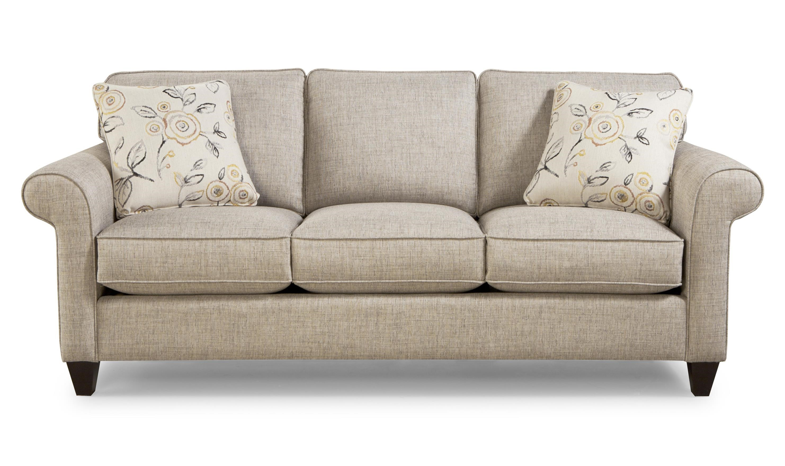 Transitional Sleeper Sofa with Sock-Rolled Arms and Memoryfoam Mattress