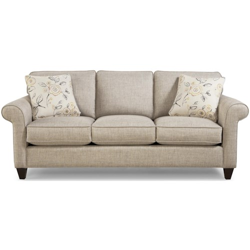 Craftmaster 7421 Transitional Sofa with Sock-Rolled Arms