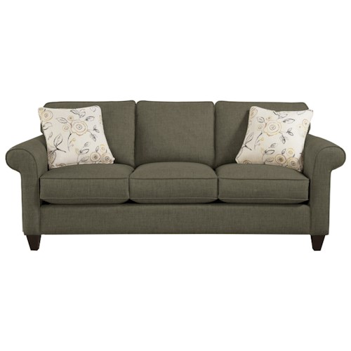 Hickory Craft 7421 Transitional Sofa With Sock Rolled Arms Godby Home Furnishings Sofas